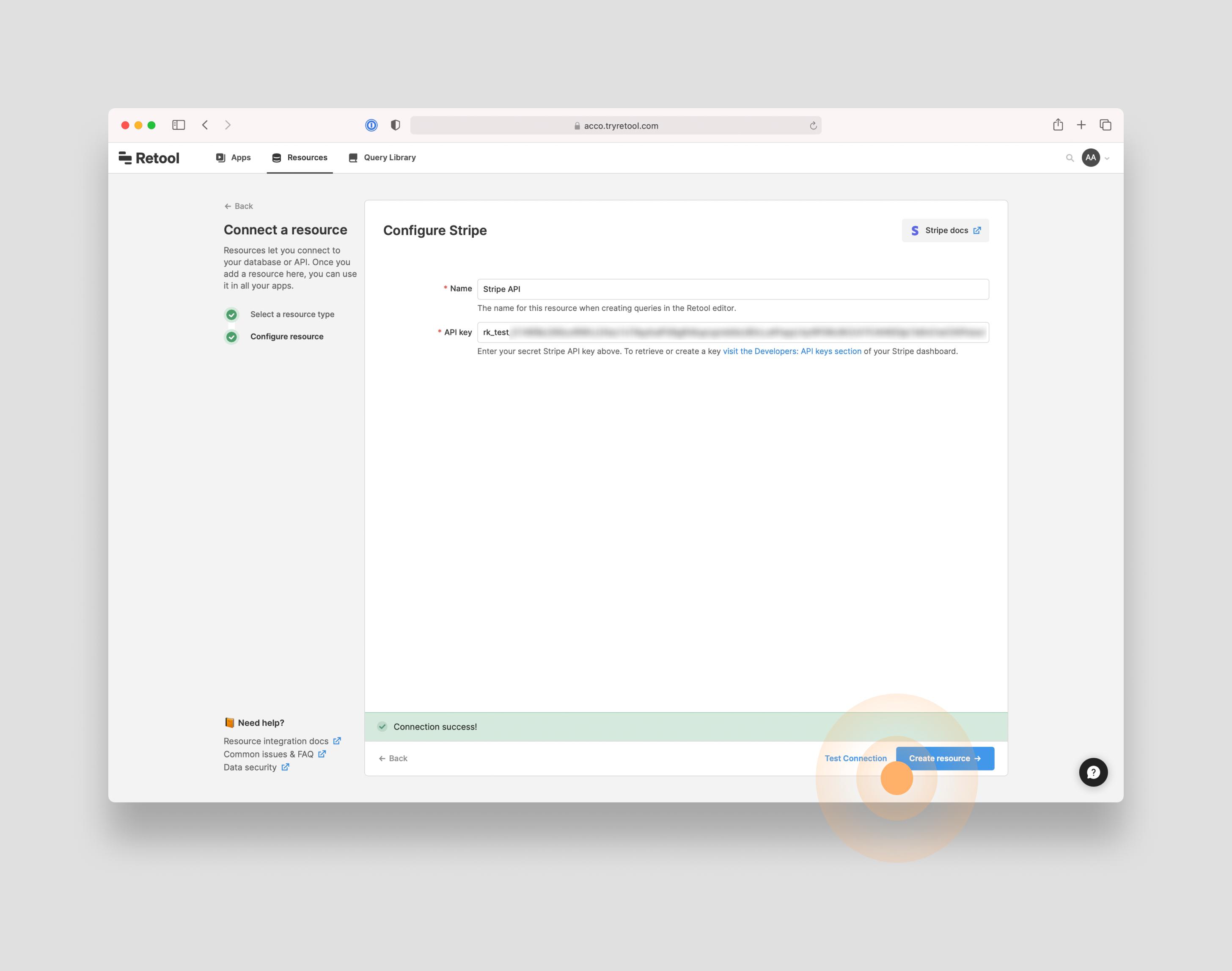 Add the Stripe API resource to Retool